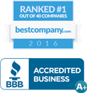 Ranked #1 on Best Company and BBB A+ Accredited Business