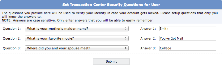 Set Up and Edit Security Questions