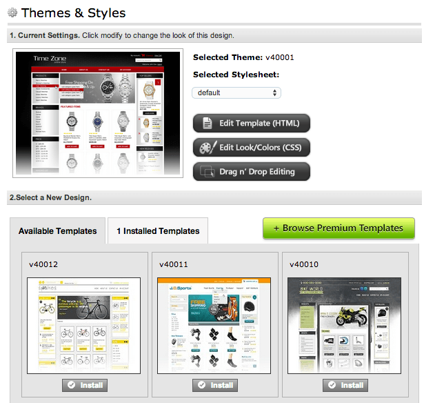 Store Themes and Styles